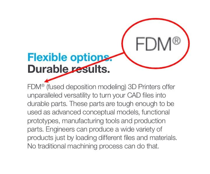Example of the FDM trademark [Source: Stratasys]