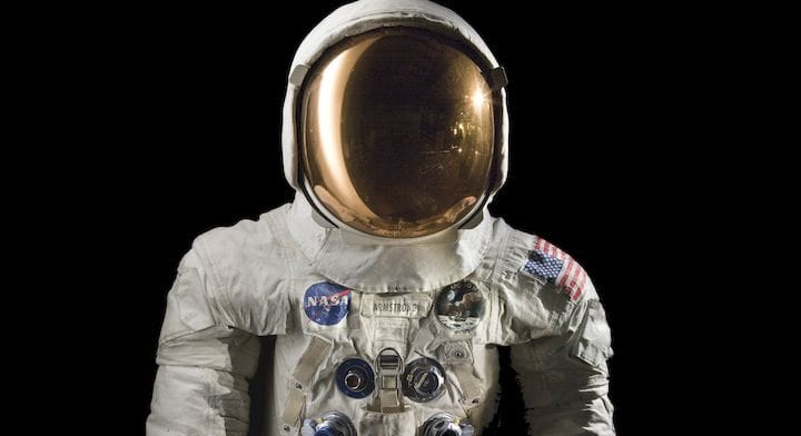 Neil Armstrong's actual lunar spacesuit [Source: Smithsonian Institution]