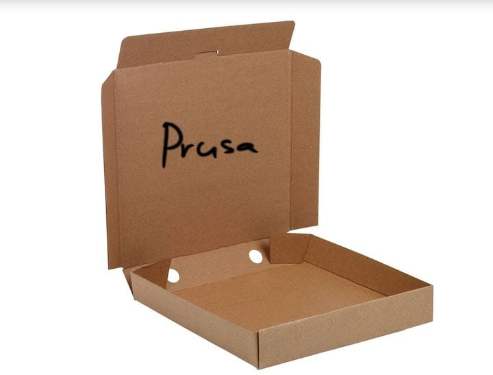 Prusa Research's original shipping method: pizza boxes [Source: YouTube]