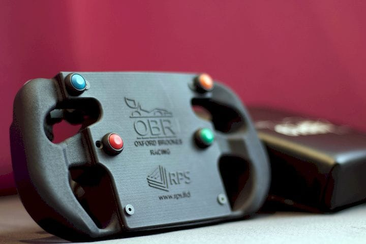 3D Printed Formula Student steering wheel designed by Oxford Brookes Racing team [Source: RPS]