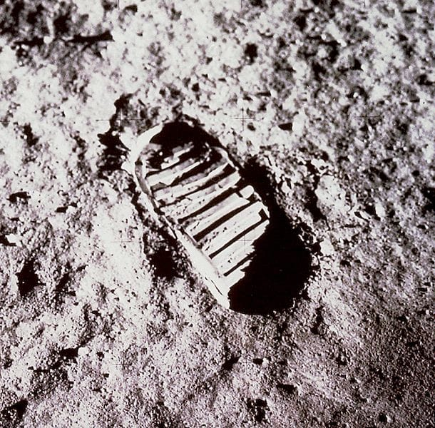 Photo of an actual human footprint on the Moon from Apollo 11 [Source: NASA]