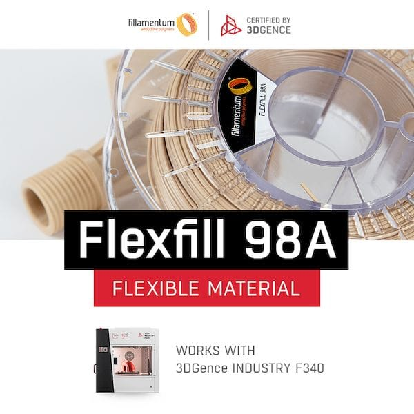 Filamentum's Flexfill 98A has been certified for use on the 3DGence F340 [Source: 3DGence]