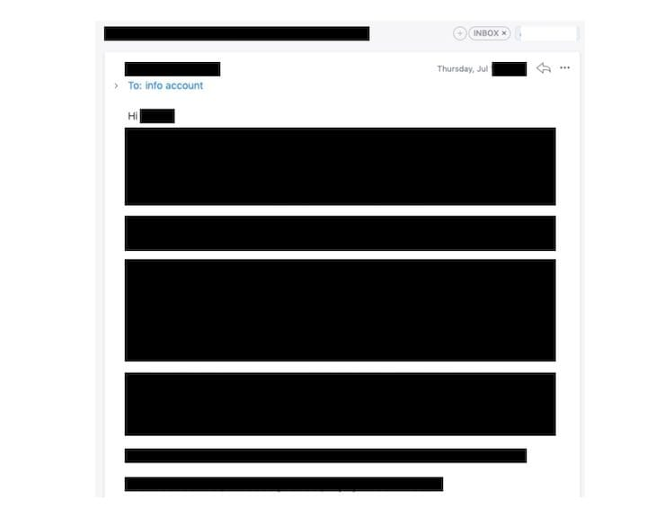 Redacted contents on a mysterious letter we received [Source: Fabbaloo]
