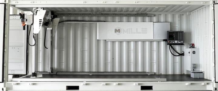 A 3D printer in a shipping container [Source: Millebot]