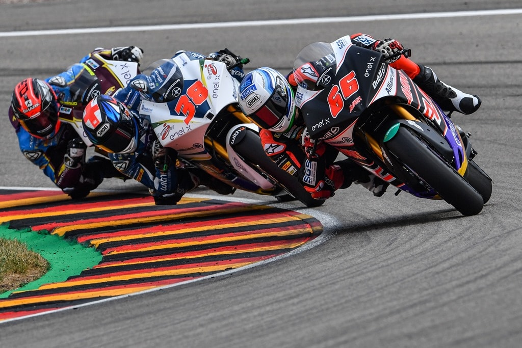 During the first round of the FIM Enel MotoE World Cup at Sachsenring racetrack. From left: Mike Di Meglio, Bradley Smith, Niki Tuuli the winner. On these Ego machines, as for all the Ego race motorbikes, there are some parts manufactured via professional 3D printing and Windform composite materials (manufacturer: CRP Technology) and via high-precision CNC machining (CRP Meccanica) [Image: CRP]