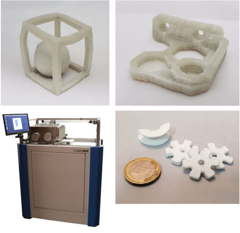 Example prints and the Aerosint setup. The cube is 5cm to one side, with a strut of 5mm, the bracket is 4.5cm to a side, with a height of 1cm. Both are made of glass. The gears and curved shape are made from Aluminum oxide (us kindly provided to us by Sasol). [Image: Aerosint]