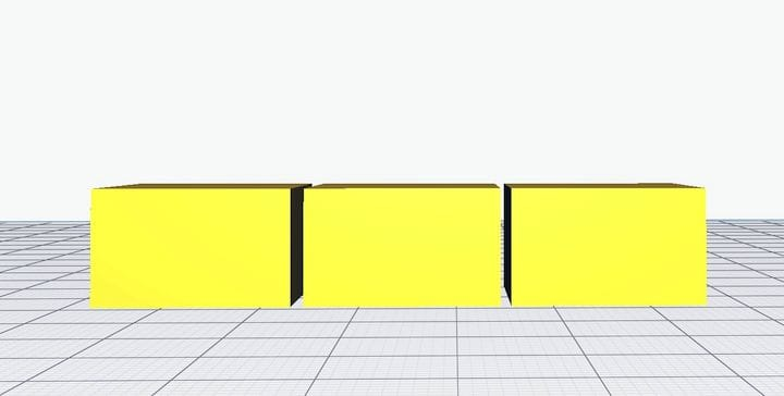 Perspective view of three cubes in Ultimaker Cura 4.2 Beta [Source: Fabbaloo]