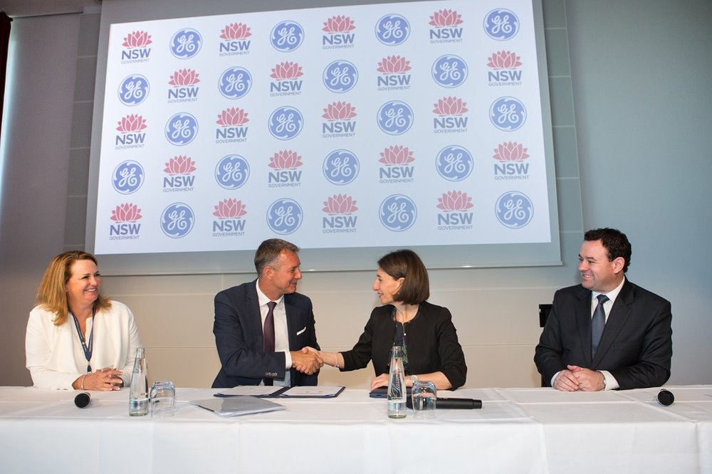 Debbra Rogers, Chief Commercial Cfficer, GE Additive; Jason Oliver, President & CEO, GE Additive; The Honourable Gladys Berejiklian MP, Premier of NSW;and The Honourable Stuart Ayres MP, Minister for Jobs, Investment, Tourism & Western Sydney [Image via GE Additive]