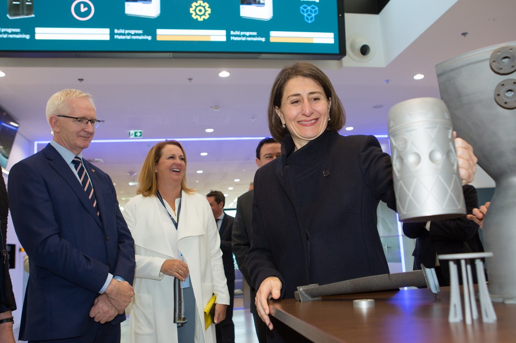 NSW Government Premier Gladys Berejiklian tours GE Additive's CEC Munich as part of an MoU signing ceremony [Image via GE Additive]