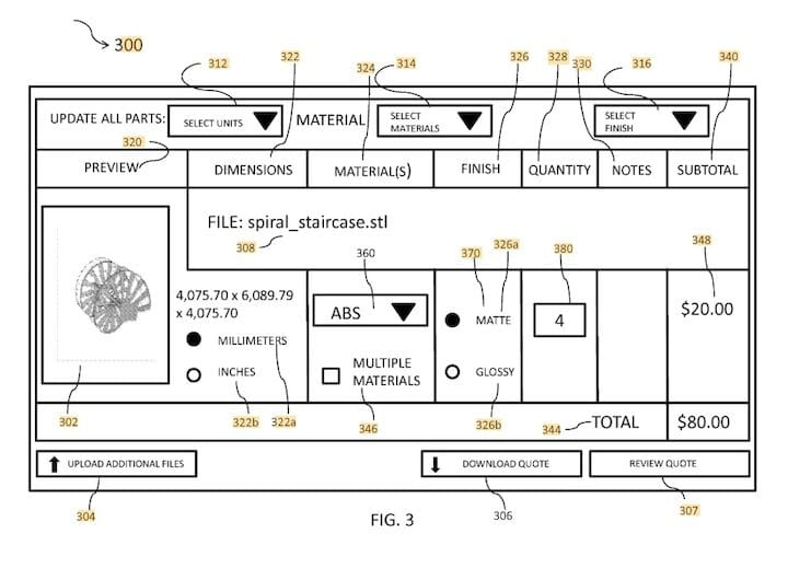 GUI for FATHOM's new patent on 3D print service quoting [Source: Google Patents]