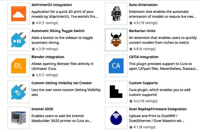 A few of the community plugins on the Ultimaker Cura Marketplace [Source: Fabbaloo]