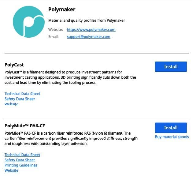 Polymaker's entry in the Ultimaker Cura Marketplace. Note ability to install print profiles and load safety sheets [Source: Fabbaloo]