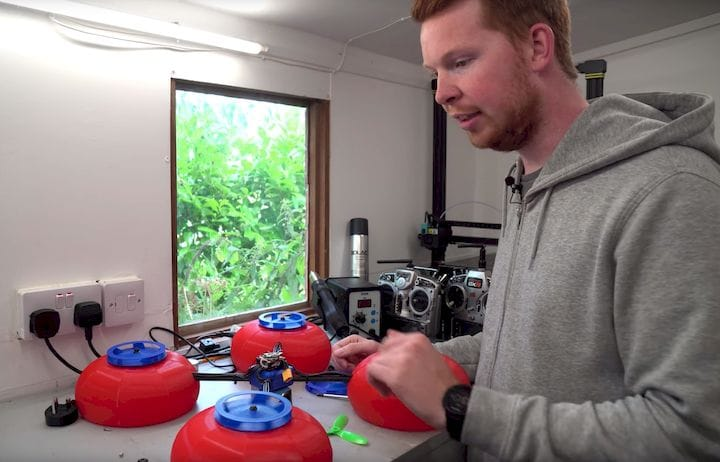 Tom Stanton working on a 3D printed drone using the Coandă Effect [Source: YouTube]