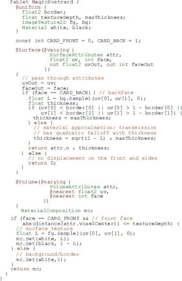 Sample code for an OpenFab FabLet [Source: CACM]
