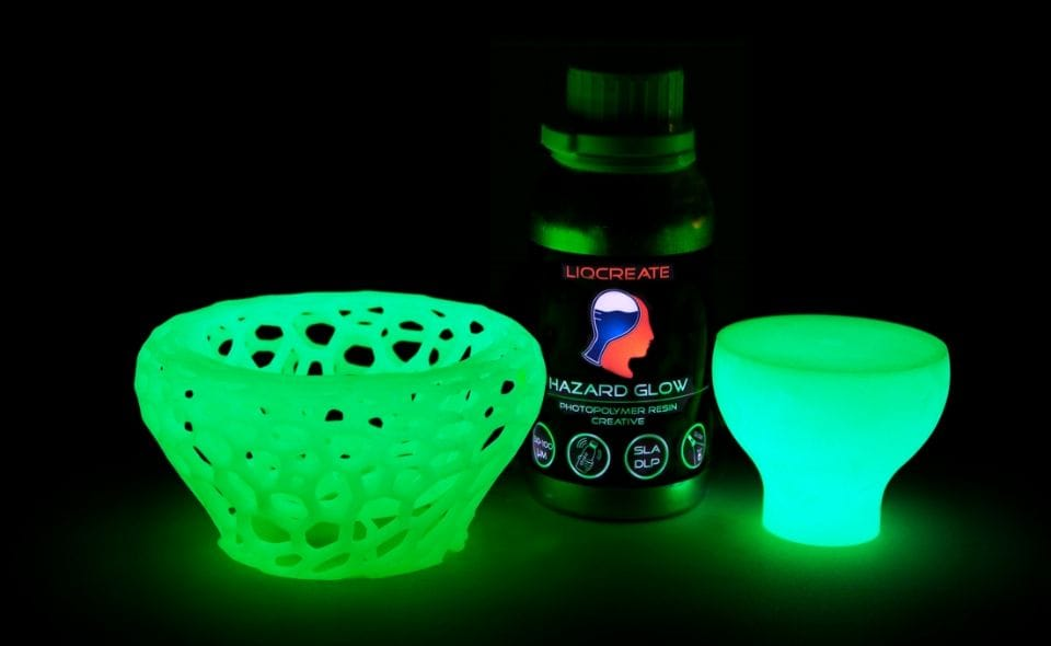 Glow in the dark 3D prints made on a resin 3D printer [Source: Liqcreate]