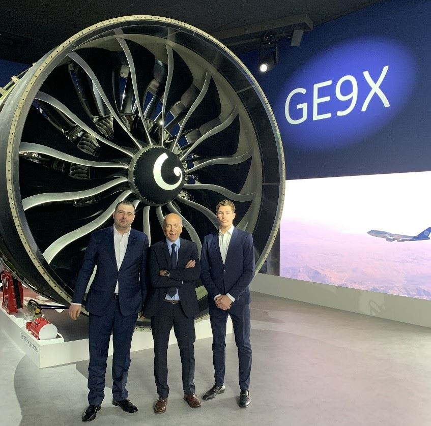 Titomic's Chief of Strategy Mr Vahram Papyan, with GE's AP&C President & CEO Mr Alain Dupont and Titomic Procurement Manager Mr Beau Lang (left to right) at the Paris 2019 Airshow [Image: GE Additive]