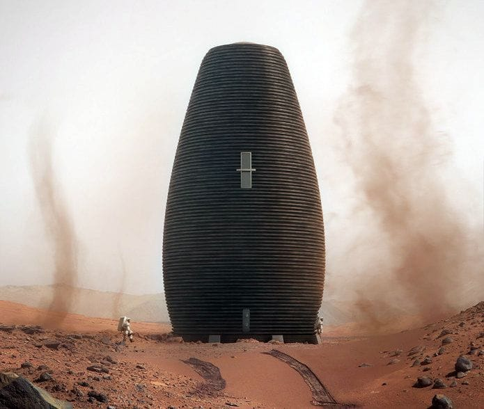 3D Printed MARSHA proposed Mars habitat [Source: AI Spacefactory]