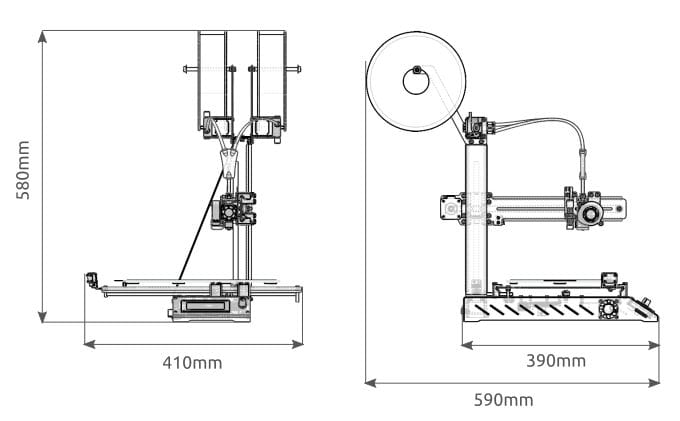 Diagram of the low-cost Axis 3D Printer [Source: Makertech 3D]