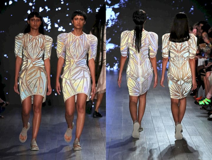 Stratasys coIIaborated with designers threeASFOUR and Travis Fitch for breakthrough Chro-Morpho CoIIection, featuring 3D printed fashion at New York Fashion Week [Source: Stratasys]