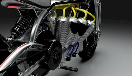 Detail of the Zeus V8 electric motorcycle [Source: Curtiss Motorcycles]