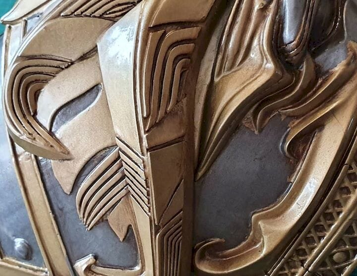 Detail of the 3D printed Aduin Wryn cosplay outfit [Source: Grizzly Tech]
