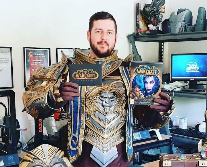 3D printed Aduin Wryn cosplay outfit [Source: Grizzly Tech]