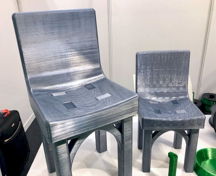 Tough two-part, snap-together 3D printed chairs using recycled PET filament from RE PET 3D [Source: Fabbaloo]