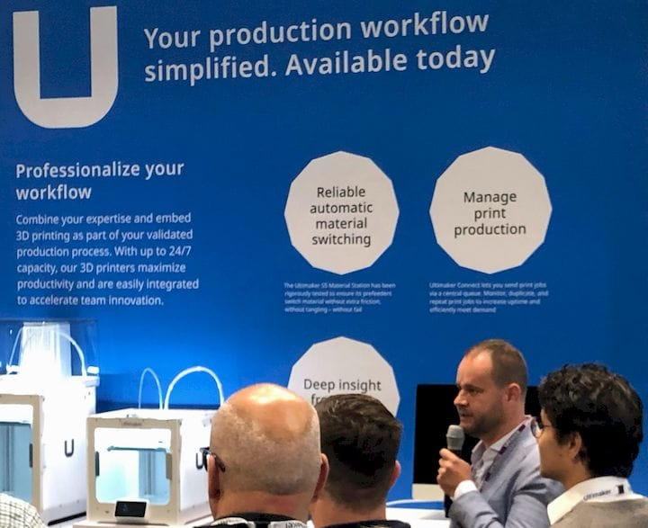 Rutger Stronks, Ultimaker's Global Director of Product Marketing, introduces the S5 Bundle [Source: Fabbaloo]