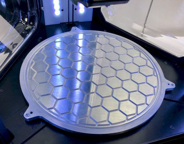 The print plate on Innovatica 3D printers, which use a vacuum system [Source: Fabbaloo]