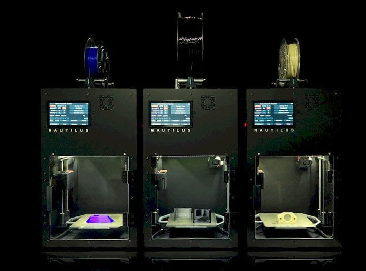 Three of Hydra Research's Nautilus 3D printers [Source: Hydra Research]