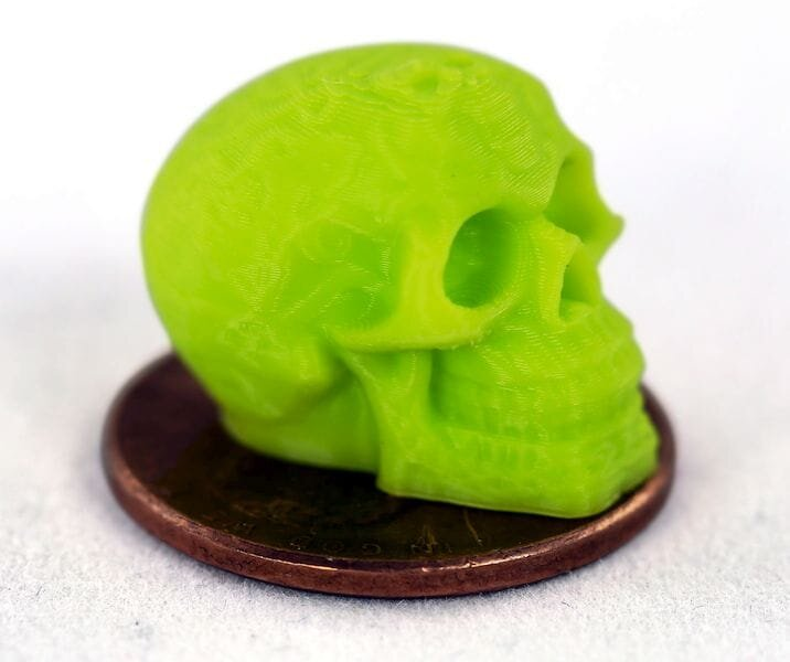 A tiny skull 3D printed with the Aerostruder v2 Micro Tool Head [Image: Aleph Objects]