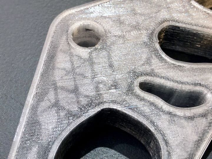 A 3D print with embedded continuous carbon fiber [Source: Fabbaloo]