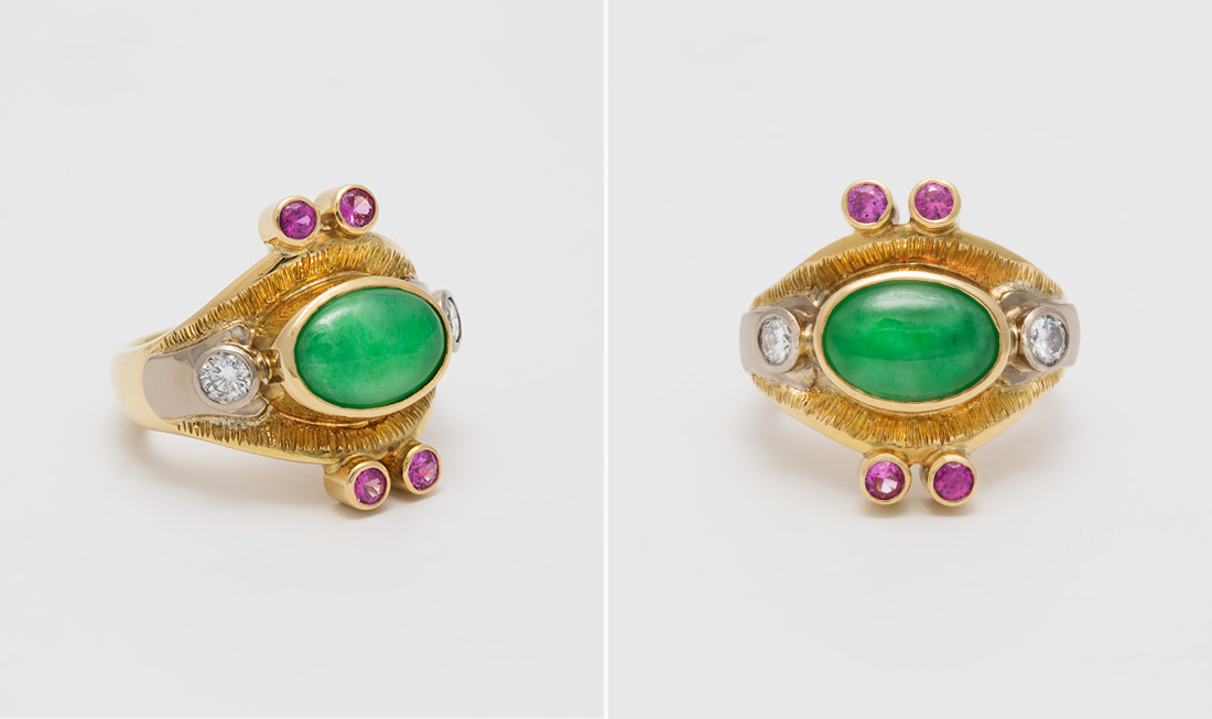 Jade, Diamond & Pink Tourmaline Ring