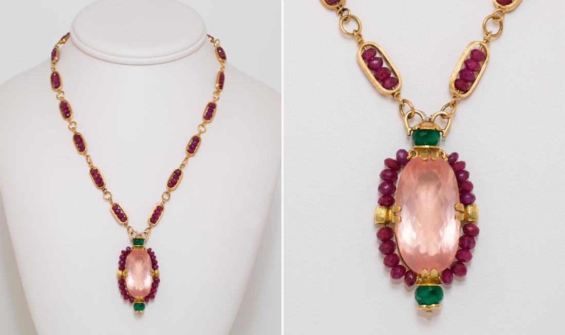 Rosequartz, Ruby & Emerald Pendant Necklace