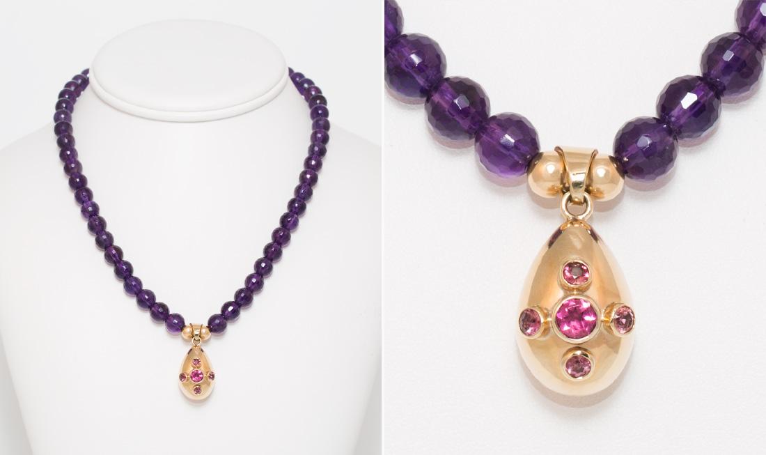 Pink Tourmaline & Amythest Pendant Necklace