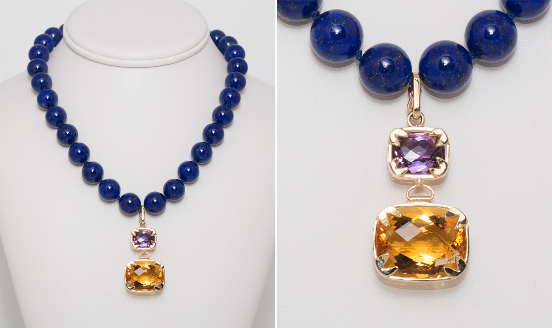 Citrine Amythest & lapis Lazuli Pendant Necklace