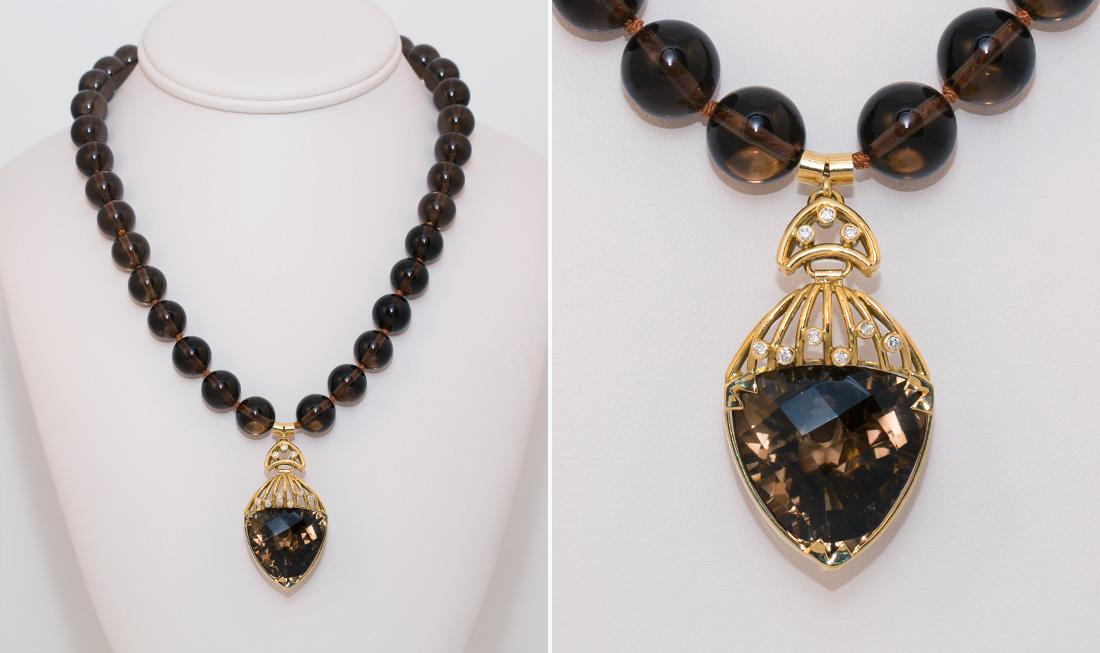 Smoke Quartz & Diamond Pendant Necklace