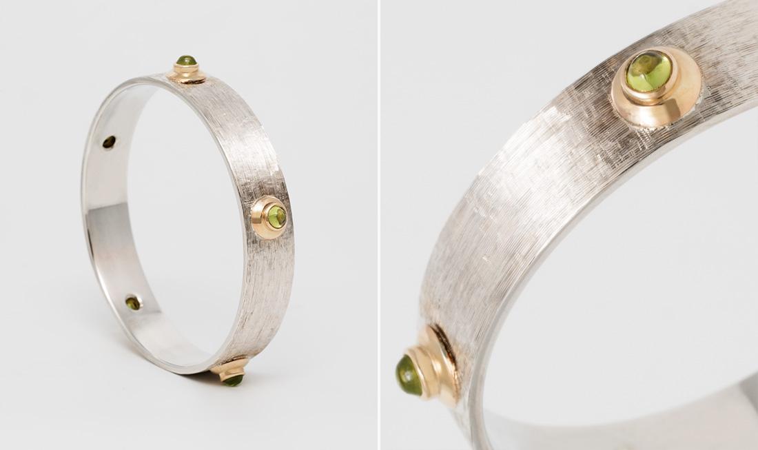 Silver, Gold & Peridot Bangle