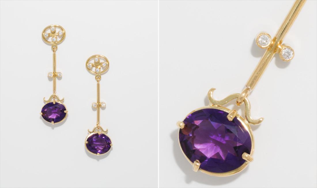 Gold, Amethyst & Diamond Drop Earrings