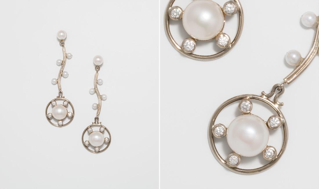 Button Pearl & Diamond Drop Earrings