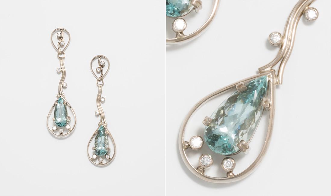 Green Beryl & Diamond Earrings