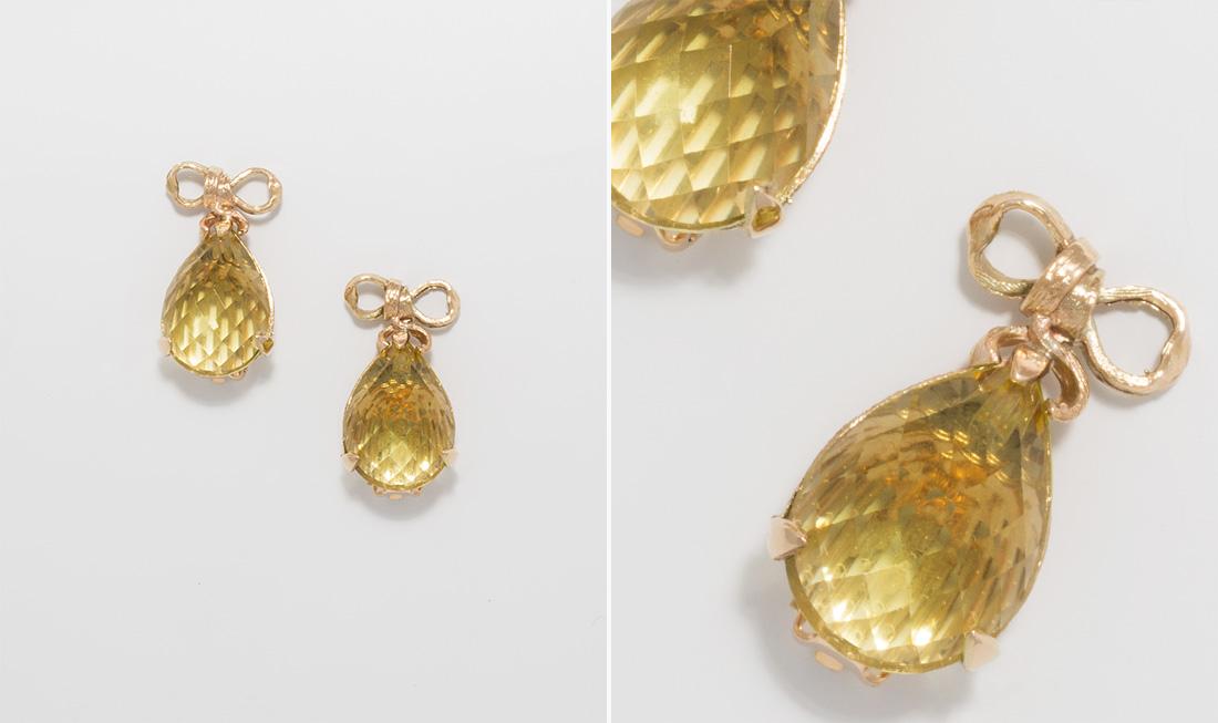 Lemon Quartz Clip Earrings