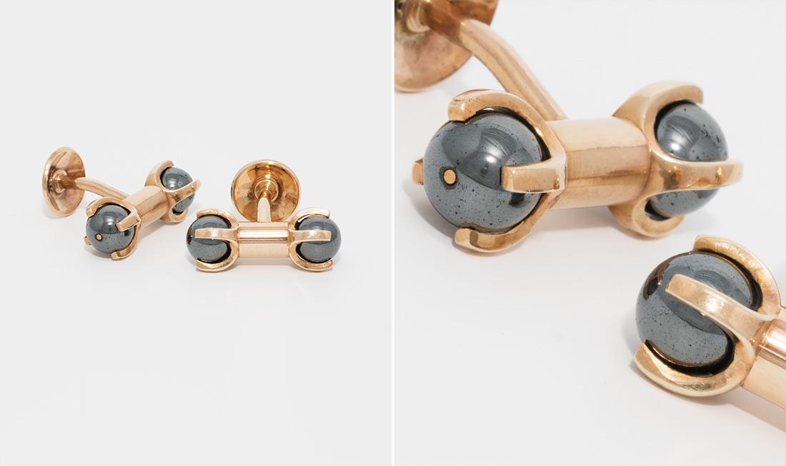 Gold & Hematite Cufflinks