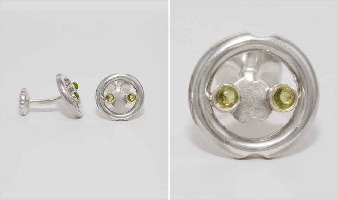 Silver & Peridot Cufflinks