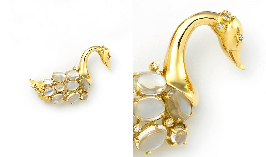 Moonstone & Diamond Swan Brooch