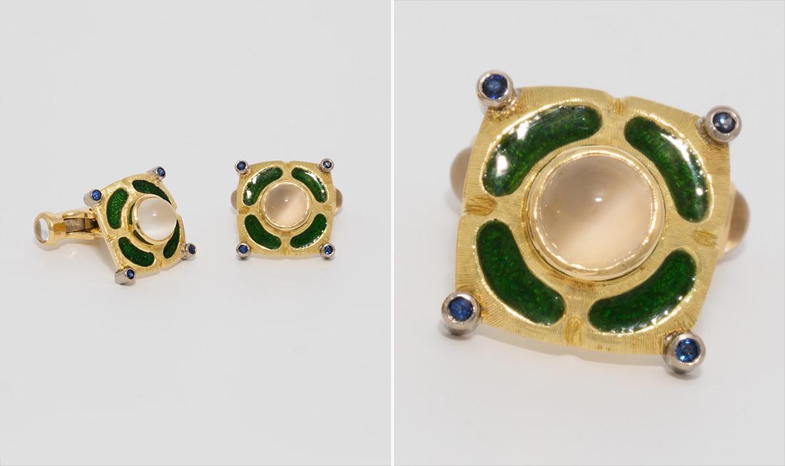 Enamel, Moonstone & Sapphire Cufflinks