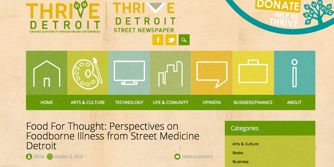 Food for Thought: Perspectives on Foodborne Illness from Street Medicine Detroit (Thrive:D Street Newspaper) -- Oct 5, 2014