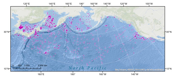 Location of >1600 marine sediment paleoceanographic cores in the North Pacific. The database of cores is