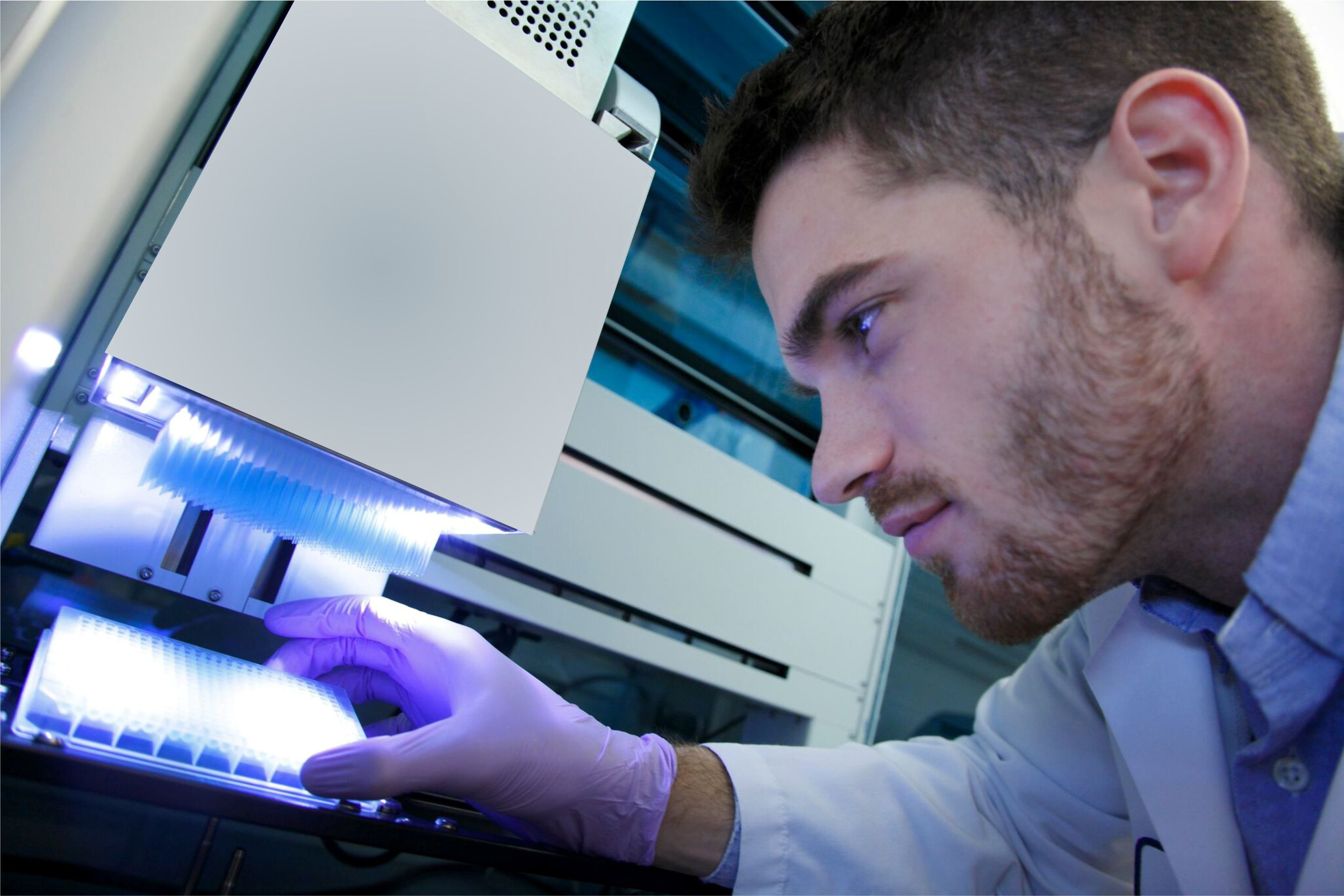 Reid is visually inspecting the quality of the drug dilutions which will be tested on patient-derived ovarian cancer cells. The diluted drugs are added with the aid of robotic liquid-handling equipment, thus minimizing hands-on time and increasing efficiency.