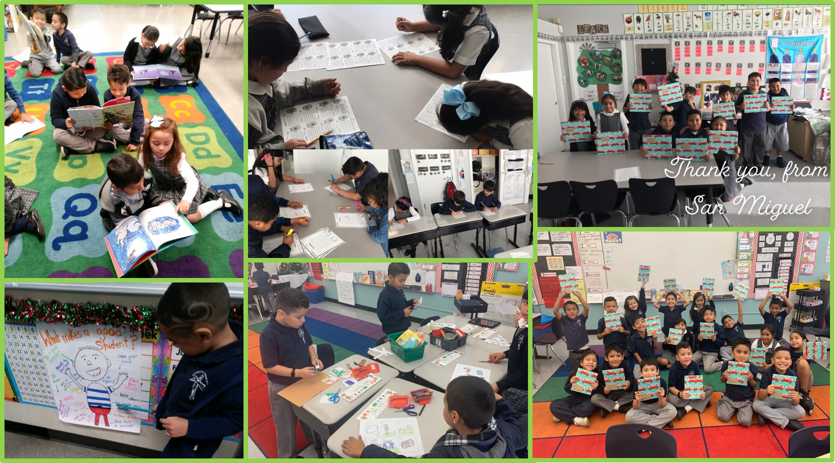 Students in kindergarten, first, and second grade at San Miguel in Los Angeles receive books and do related academic activities as part of this year's Holiday Book Drive!